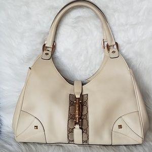 Gucci Jackie Nailhead lock leather beige